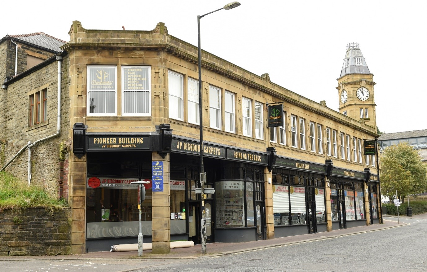 Image of the Pioneer Building in Bacup shops and markets in Rossendale for Visit Rossendale website