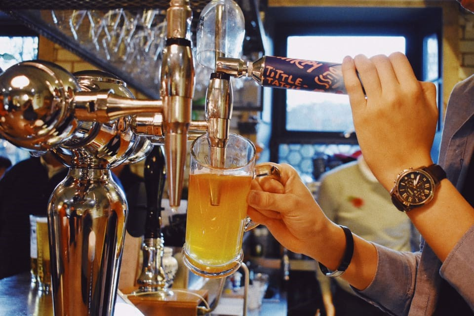 Image of beer being poured for a page on the visit Rossendale website on the food and drink in Rossendale