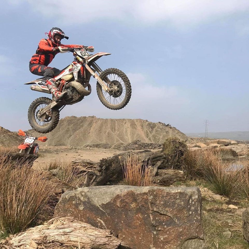 image of adult jumping motorbike for Cowm Leisure Off Road Centre page on Visit Rossendale website