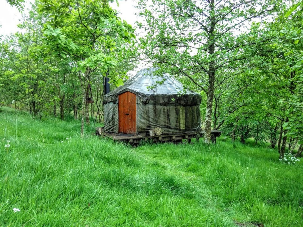 Image of the outside of a yurt for page on Cronkshaw Fold Farm on the Visit Rossendale website