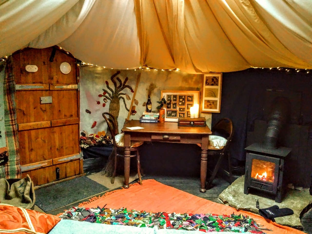 Inside a yurt on Cronkshaw Fold Farm for accommodation in Rossendale page on Visit Rossendale website
