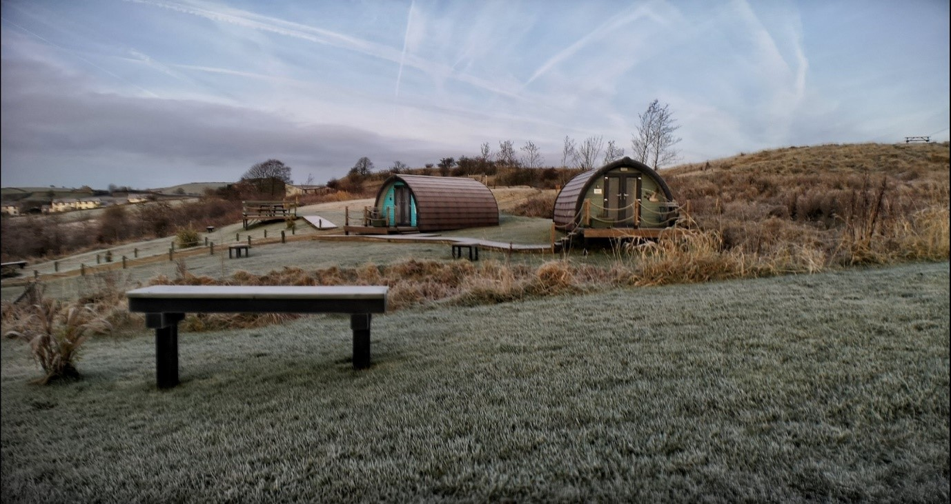 Glamping pods at the Rossendale Holiday Cottages for Visit Rossendale website